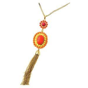 Long orange tassel necklace